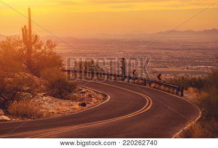 Scenic Winding Arizona Mountain Road with City of Phoenix Vista. United States of America.