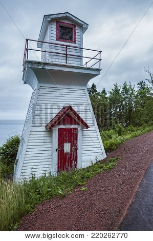 Wallace Harbour Front Range Lighthouse in Nova Scotia. Nova Scotia, Canada.