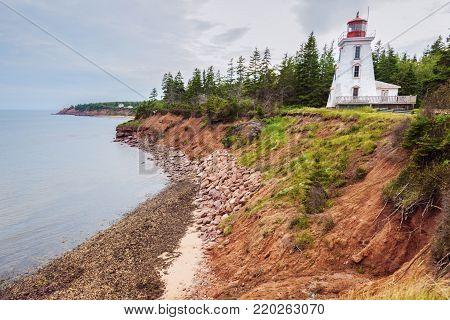Cape Bear Lighthouse on Prince Edward Island. Prince Edward Island, Canada.