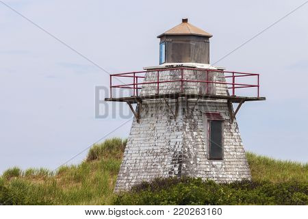St Peters Harbour Lighthouse on Prince Edward Island. Prince Edward Island, Canada.