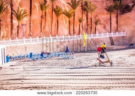 Benidorm, Spain, December 14, 2017: Cala Mas Pas Beach in Benidorm, Alicante, Spain