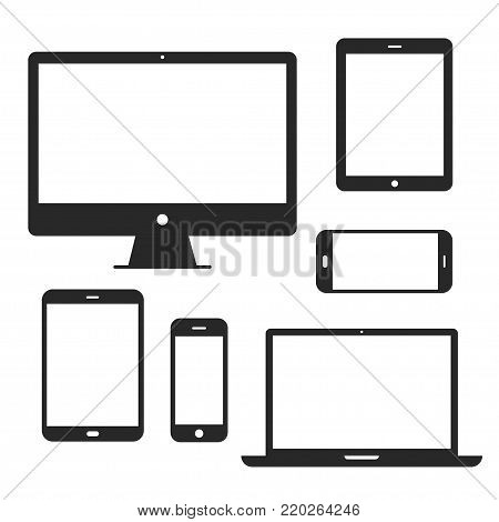 Device screen icon set. Phone and computer display to present visual information, mobile touchscreens, touchpad for the laptop. Vector flat style cartoon illustration isolated on white background