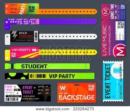 Event bracelets set. Event ticketing at music festivals and sporting events worn around the wrist or arm. Vector flat style cartoon illustration isolated on black background