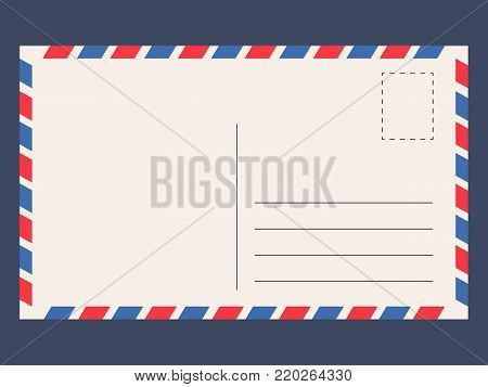 Post card template. Card space for a short message, for sending by post without an envelope Vector flat style cartoon illustration isolated on blue background