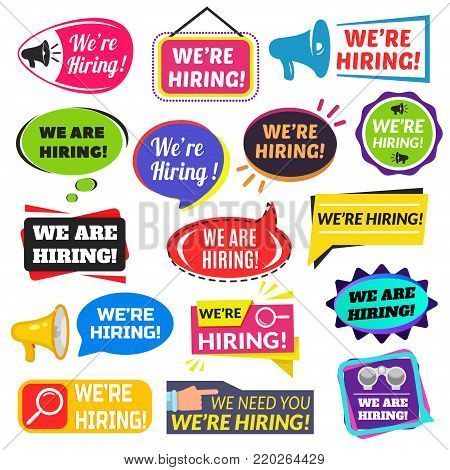 We are hiring sign. Advertisement to engage the services of a person, employer taking on a new employee, giving a job note. Vector flat style cartoon illustration isolated on white background