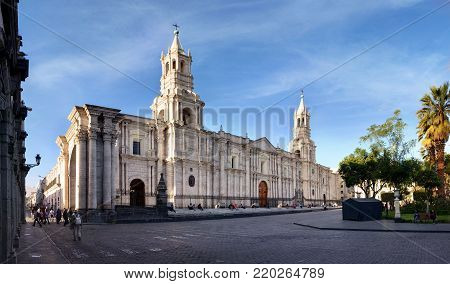 Arequipa, view of the cathedral in the historic center, UNESCO world heritage, southern Peru
