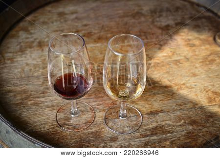 tasting of Portuguese port red and white wine in the tasting room