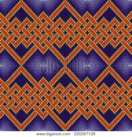Knitting seamless vector pattern with interlaced zigzag lines mainly in blue and orange hues as a fabric texture