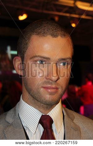 London, - United Kingdom, 08, July 2014. Madame Tussauds in London. Waxwork statue of Justin Timberlake