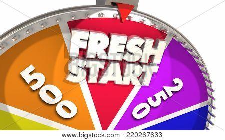 Fresh Start Game Show Spinning Wheel Begin Again 3d Illustration