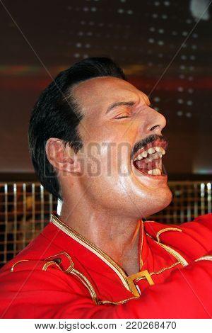London, - United Kingdom, 08, July 2014. Madame Tussauds in London. Waxwork statue of Freddie Mercury.