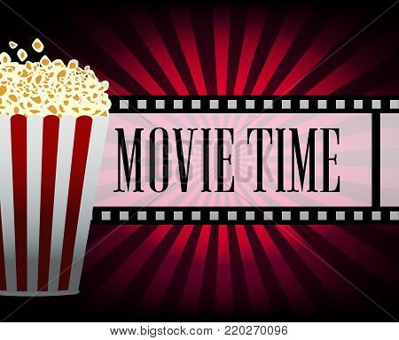 Cinematograph Elements Of The Film Industry Banner Design Movie Time Online Popcorn And