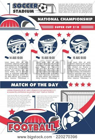 Football championship match banner with soccer ball and stadium. Football sporting arena, soccer ball, winner trophy cup and gate with text layout for soccer or football sport game competition design