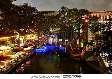 San Antonio, USA, 2017.11.08: The Riverwalk of San Antonio in the USA.