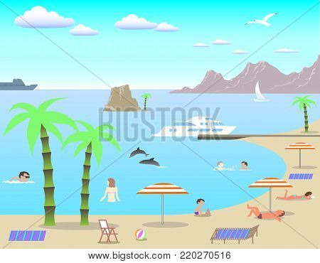 Stock Illustration Beach, vector, can be used for illustration of relaxing on the beach