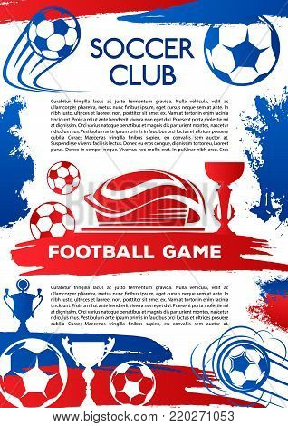 Football sport game poster for soccer club match. Stadium and sports arena banner with soccer ball, football trophy and winner cup for championship tournament and sporting competition design