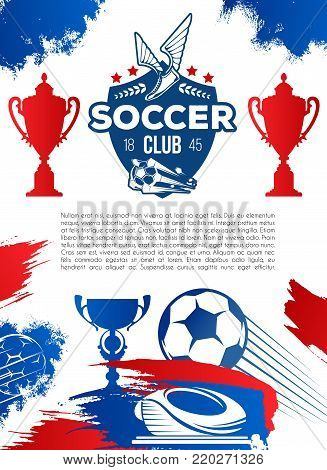 Football sport game banner. Soccer sport club shield with ball, winged boots, laurel wreath and star, flanked by winner trophy cup, football stadium and flying ball poster for sport design