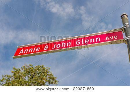 Annie And John Glenn Avenue Sign At The Ohio State University
