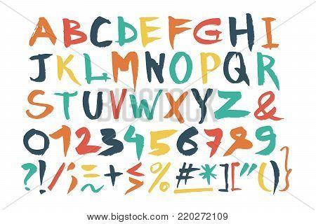 Hand Drawn Font Handwritten Alphabet In Brush Style Modern Script Vector Handmade