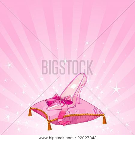 Crystal Cinderella?s slipper on pink pillow background