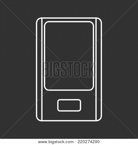 Outlined mp3 player on a black background