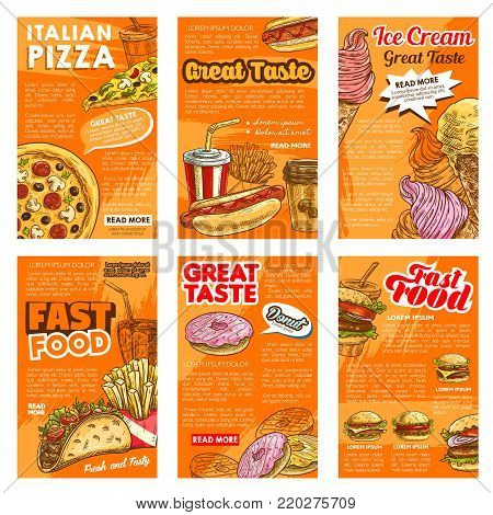 Fast food restaurant lunch snack and drink posters. Burger sandwich, pizza, hot dog and french fries, takeaway coffee, donut and soda, taco and ice cream sketch poster for advertising design