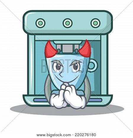 Devil coffee maker character cartoon vector illustration