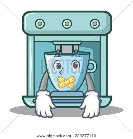 Silent coffee maker character cartoon vector illustration