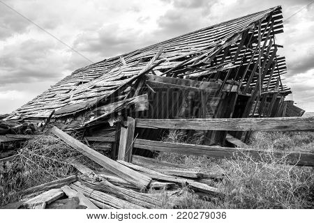 Weathered, collapsing Barn in the Palouse region of Eastern Washington