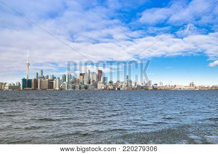 Toronto, Canada - January 27, 2016: Toronto Skyline view from Toronto Island