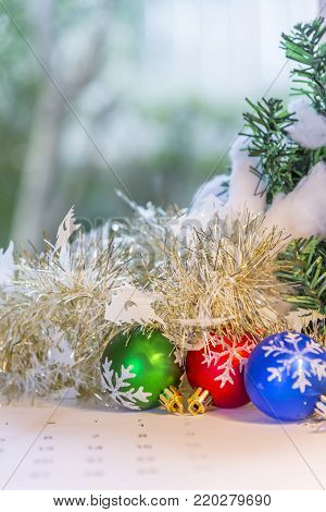 Christmas background with decorations gift box and and Happy New Year.Selective focus.