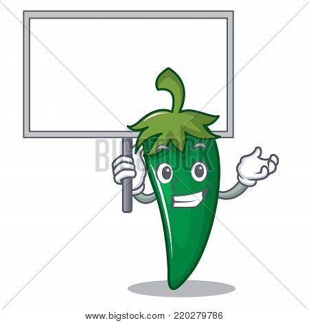Bring baord green chili character cartoon vector illustration