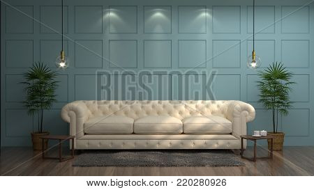 White sofa in front of green wall white lamp and sideboard in vintage empty room 3d rendering luxury living room modern mid century room interior