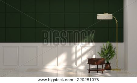 sideboard in empty room in front of green wall with lamp vintage room 3d rendering luxury living room modern mid century room interior nobody in room horizontal image