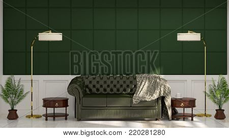 leather sofa in front of green wall white lamp and sideboard in vintage empty room 3d rendering luxury living room modern mid century room interior