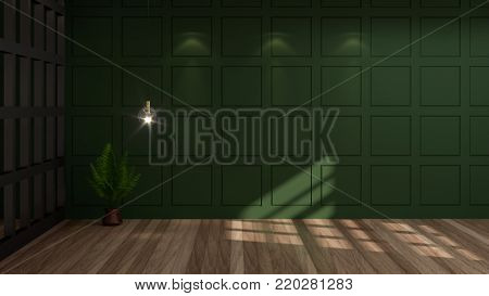 empty room green wall vintage room 3d rendering luxury living room modern mid century room interior nobody in room