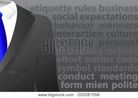 Concept of men`s  suit with shirt and tie standing in the foreground. Gray signs describing standards of social behavior and performance are on a dark background.