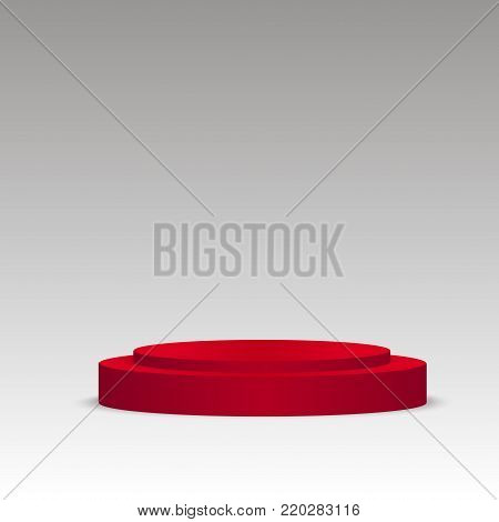 Red podium on grey. Pedestal. Scene. 3D. Vector illustration
