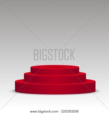 Red podium on grey. Pedestal. Scene. 3D. Vector illustration.