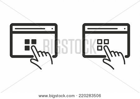 Interact vector icon. Black illustration isolated on white background for graphic and web design.