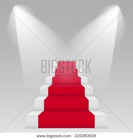 Stage for awards ceremony. Podium with red carpet. Pedestal.   Vector illustration.
