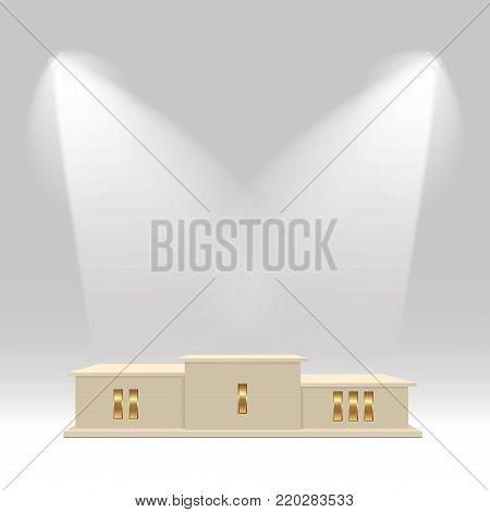Winners podium. White pedestal with spotlight. Vector illustration.
