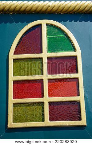 Colourful Galleon ship window, Rethymno, Crete, Greece, Europe.