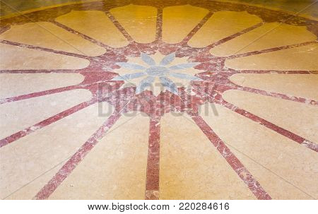MONSERRATE, PORTUGAL - October 3, 2017: The marble floor of the entrance hall of the Monserrate Palace, an exotic palatial villa located near Sintra, Portugal