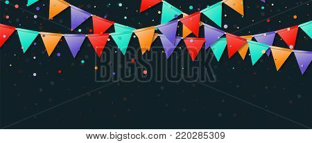 Bunting Party Flags. Eminent Celebration Card. Blue And Purple Holiday Decorations And Confetti. Bun