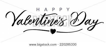 Happy Valentines Day elegant сalligraphy banner black. Greeting card template with typography text valentine`s day and heart in line on white background. Vector illustration