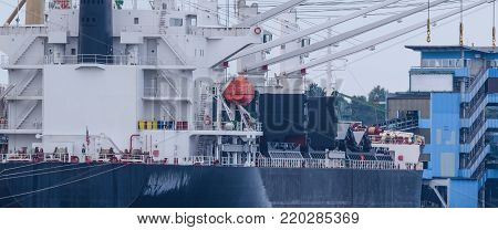 GENERAL CARGO - Ship at the transshipment quay poster
