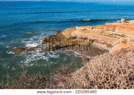 High tide at the tidepool area at Cabrillo National Monument in Point Loma, California.