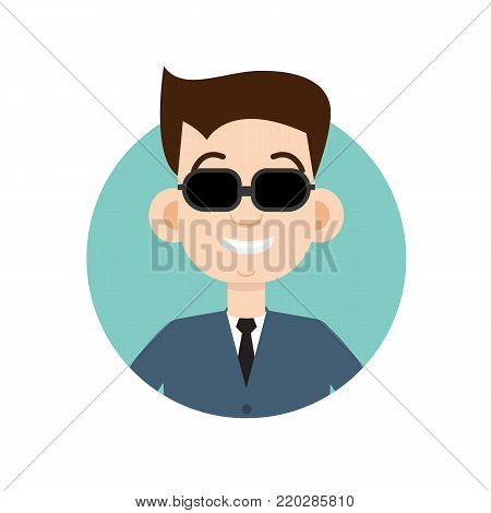 Blind man icon.  Vector flat character illustration.