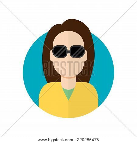 Blind woman icon. Vector flat character illustration.